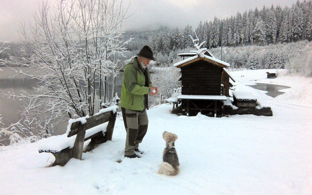 Man-and-pup-in-snow-